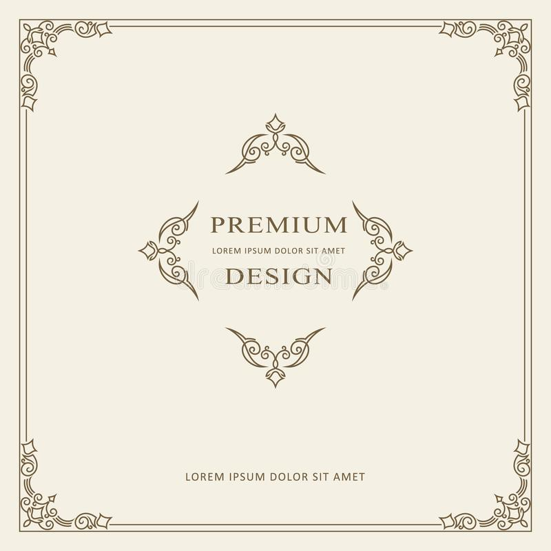 Modello d'annata di vettore della cartolina d'auguri dell'ornamento Retro invito di lusso, certificato reale Struttura di Flouris illustrazione vettoriale
