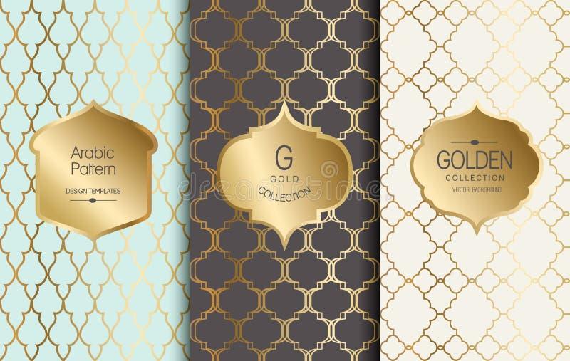 Modello d'annata dorato Illustrazione di vettore Struttura astratta dell'oro Insieme di etichetta Reticolo arabo illustrazione di stock