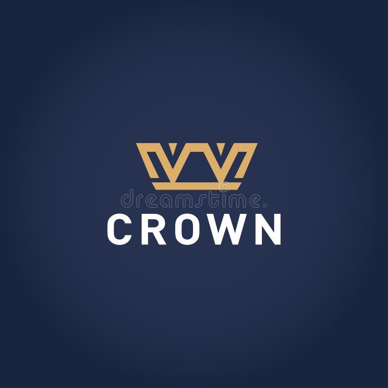 Modello d'annata geometrico di progettazione di logo dell'estratto della corona Icona d'annata di concetto del Logotype di simbol illustrazione vettoriale