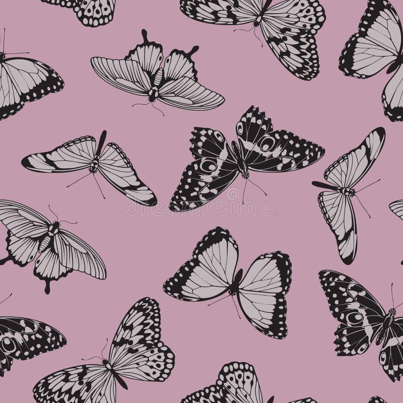 Modello d'annata senza cuciture della farfalla royalty illustrazione gratis
