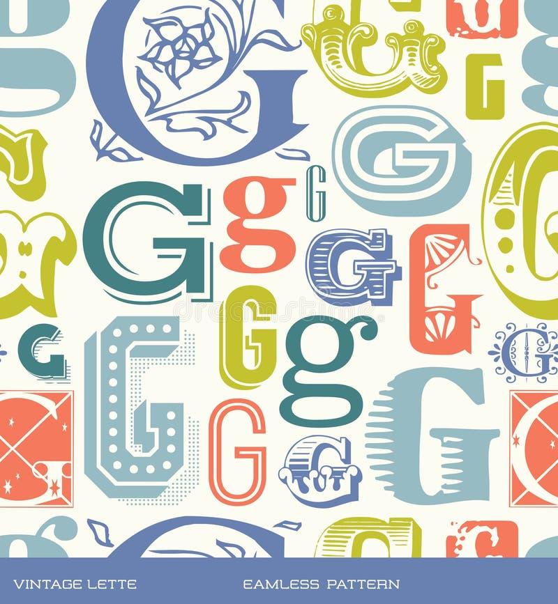 Modello d'annata senza cuciture della lettera G nei retro colori illustrazione di stock