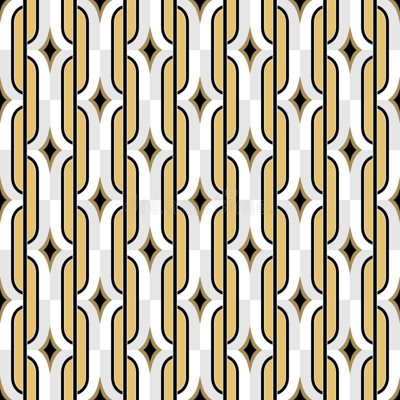 Modello d'annata senza cuciture dorato della carta da parati di Art Deco De geometrico illustrazione vettoriale