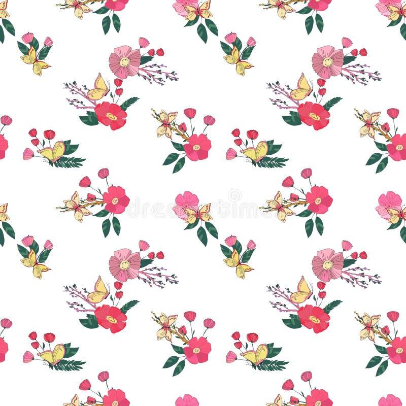 Modello d'annata senza cuciture floreale dei Wildflowers royalty illustrazione gratis