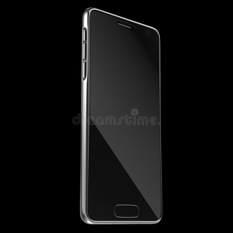 Modello d'argento realistico del telefono cellulare o di Smartphone rappresentazione 3d immagine stock libera da diritti