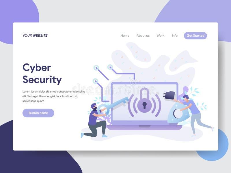 Modello d'atterraggio della pagina del concetto cyber dell'illustrazione di sicurezza Concetto di progetto piano moderno di proge illustrazione vettoriale