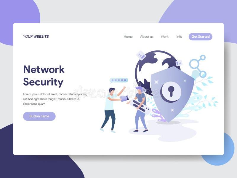 Modello d'atterraggio della pagina del concetto dell'illustrazione di sicurezza della rete Concetto di progetto piano moderno di  illustrazione vettoriale