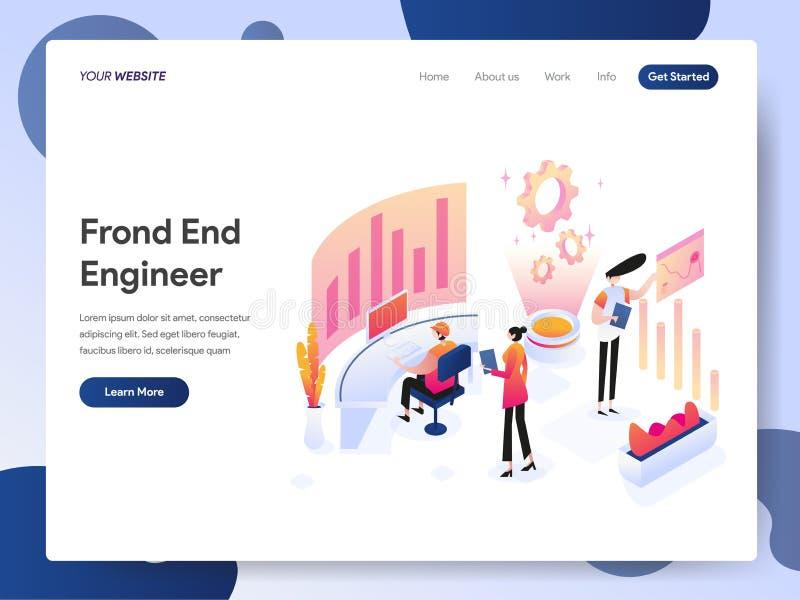 Modello d'atterraggio della pagina del concetto di Front End Engineer Isometric Illustration Concetto di progetto moderno di prog illustrazione di stock