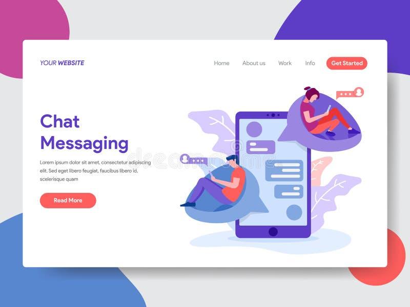 Modello d'atterraggio della pagina del concetto di messaggio di chiacchierata r illustrazione di stock