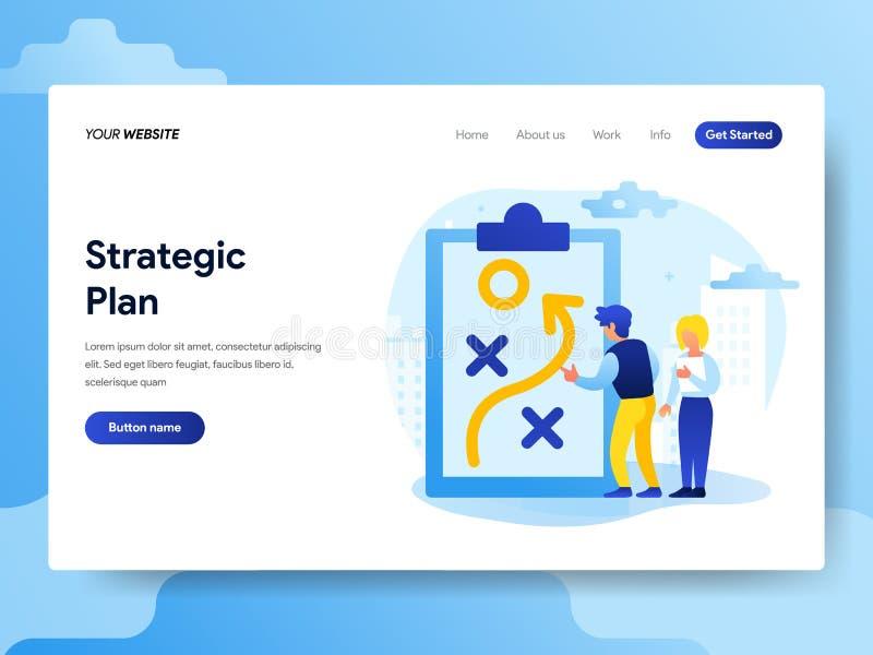 Modello d'atterraggio della pagina del concetto strategico di piano r illustrazione di stock