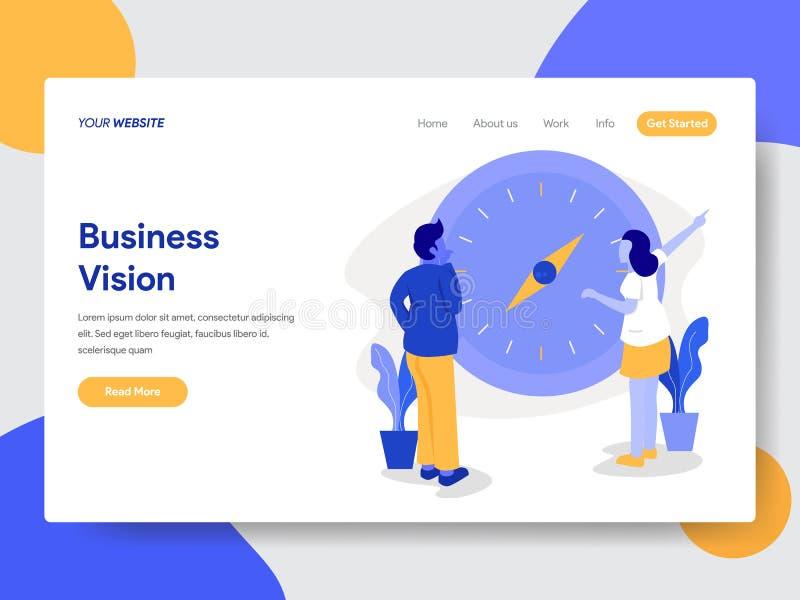 Modello d'atterraggio della pagina dell'uomo d'affari con il concetto dell'illustrazione della bussola e di visione Concetto di p illustrazione di stock