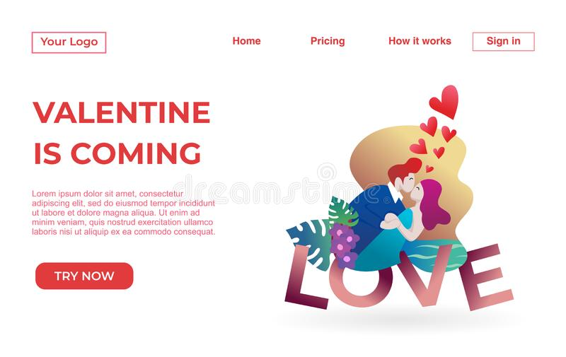 Modello d'atterraggio della pagina delle coppie con Valentine Dating Apps Illustration Concept Concetto di progetto piano moderno illustrazione vettoriale