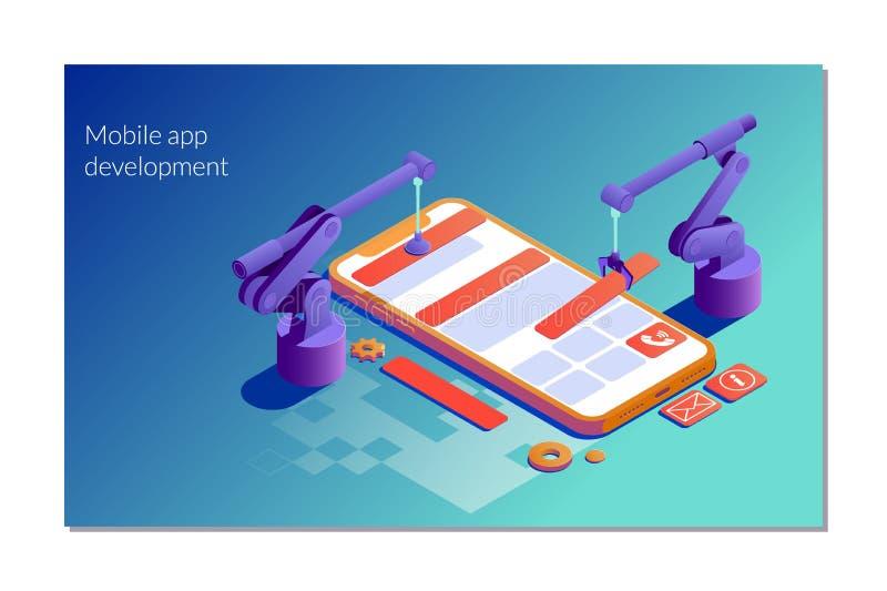 Modello d'atterraggio della pagina di sviluppo mobile del app Illustrazione isometrica piana di vettore isolata su fondo bianco illustrazione vettoriale
