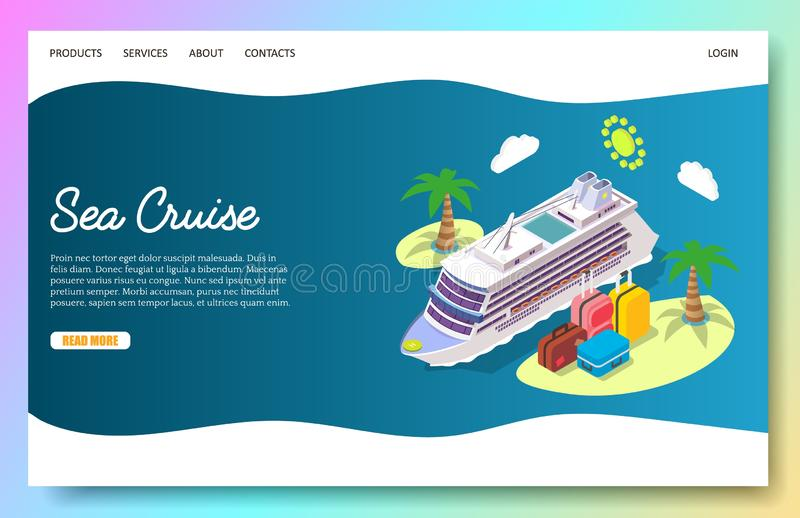 Modello d'atterraggio di progettazione della pagina del sito Web di vettore di crociera del mare illustrazione vettoriale