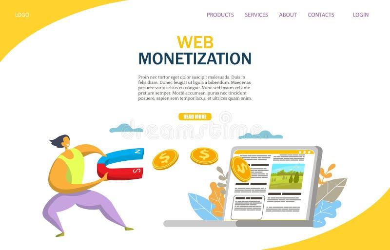 Modello d'atterraggio di progettazione della pagina del sito Web di vettore di monetizzazione di web illustrazione vettoriale