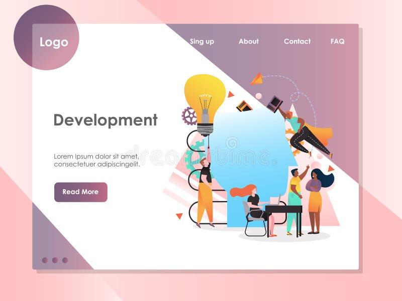 Modello d'atterraggio di progettazione della pagina del sito Web di vettore di sviluppo royalty illustrazione gratis