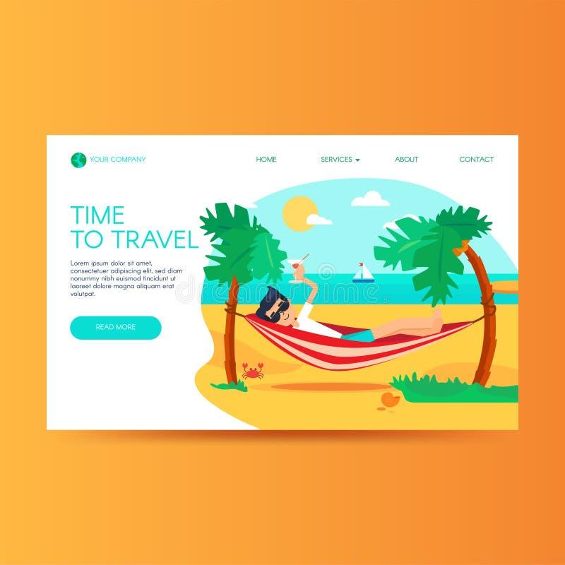 Modello d'atterraggio piano della pagina dell'agenzia di turismo illustrazione di stock