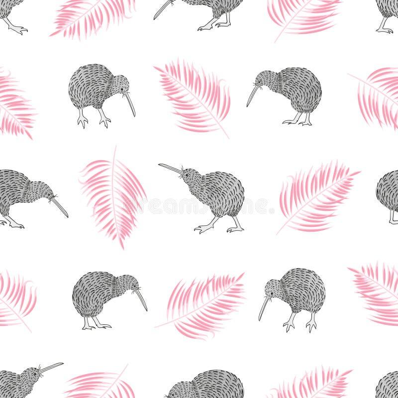 Modello d'avanguardia tropicale senza cuciture con gli uccelli e le foglie di palma del kiwi dell'acquerello royalty illustrazione gratis