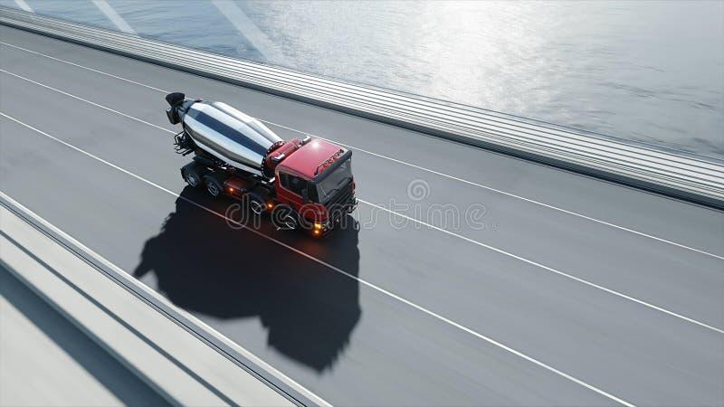 modello 3d del camion della betoniera sul ponte Azionamento molto veloce Concetto di trasporto e di costruzione rappresentazione  illustrazione di stock