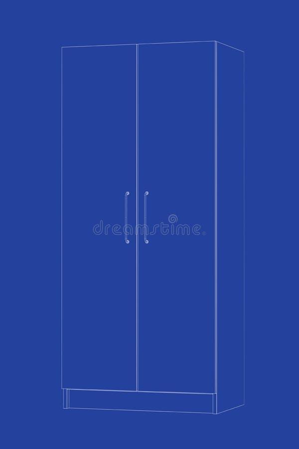modello 3d del guardaroba illustrazione vettoriale