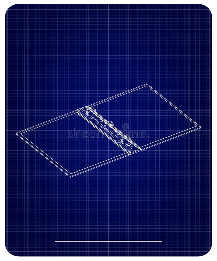 modello 3d del taccuino su un blu illustrazione di stock