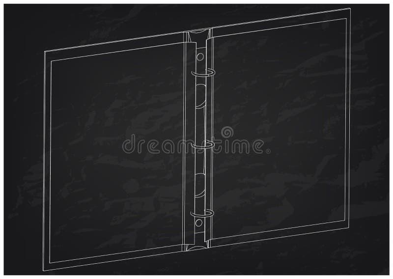 modello 3d del taccuino sul nero illustrazione vettoriale