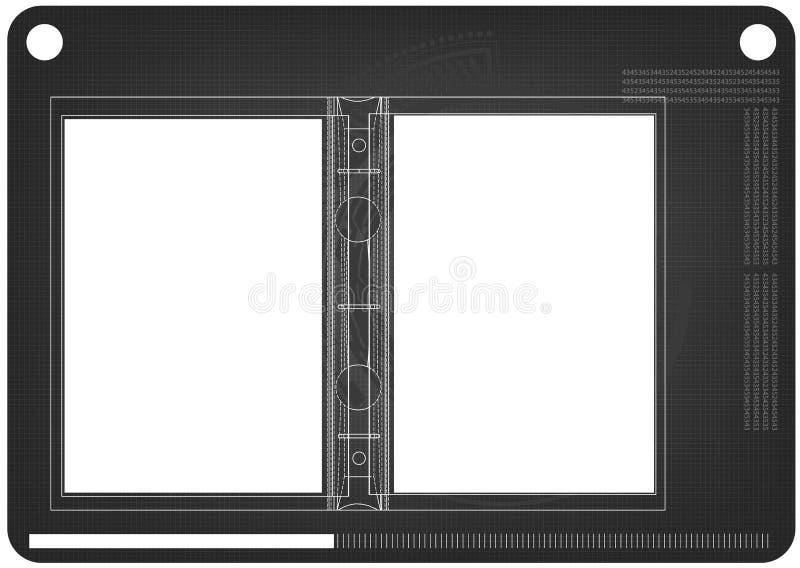 modello 3d del taccuino sul nero illustrazione di stock