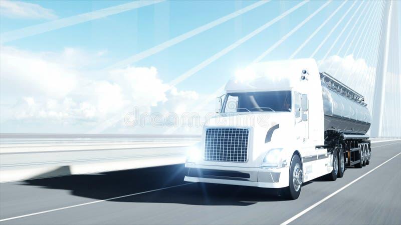 modello 3d dell'autocisterna della benzina, rimorchio, camion sulla strada principale Azionamento molto veloce rappresentazione 3 illustrazione di stock