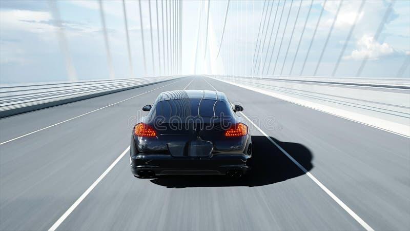 modello 3d dell'automobile sportiva nera sul ponte Azionamento molto veloce rappresentazione 3d royalty illustrazione gratis