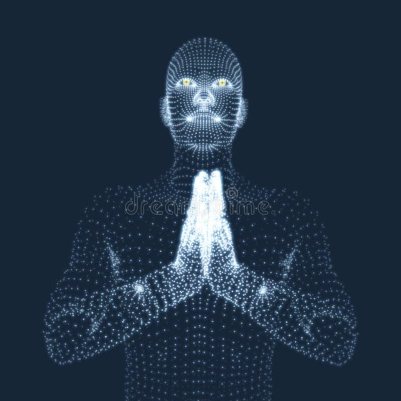 modello 3D dell'uomo Uomo che prega Concetto per la religione royalty illustrazione gratis