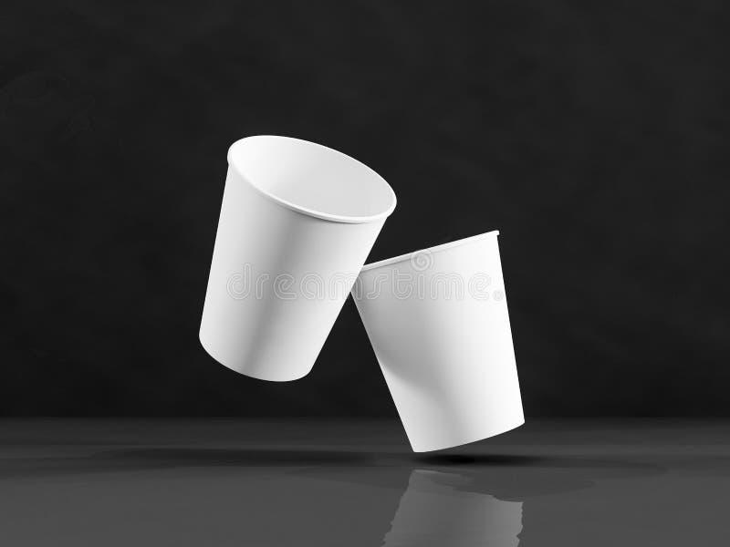 modello 3d delle tazze di carta sull'aereo nell'ambito di luce naturale B nera fotografia stock libera da diritti