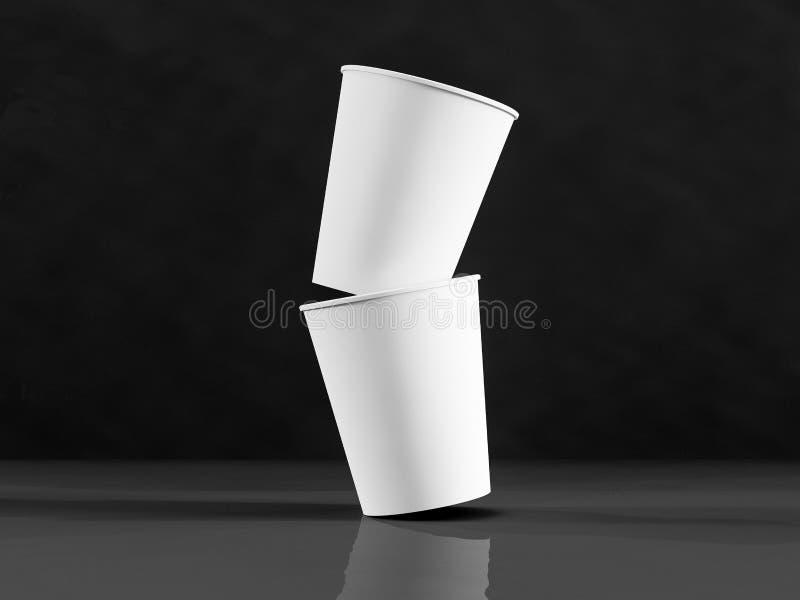 modello 3d delle tazze di carta sull'aereo nell'ambito di luce naturale B nera fotografia stock