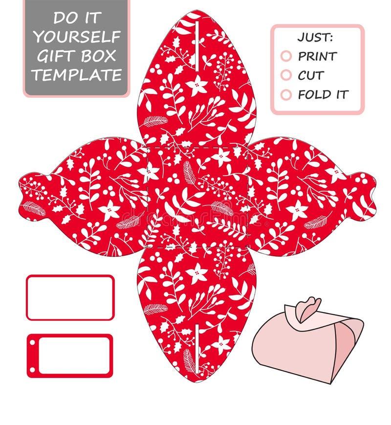 Modello d'imballaggio del regalo di Natale Il favore, contenitore di regalo muore Cu illustrazione vettoriale