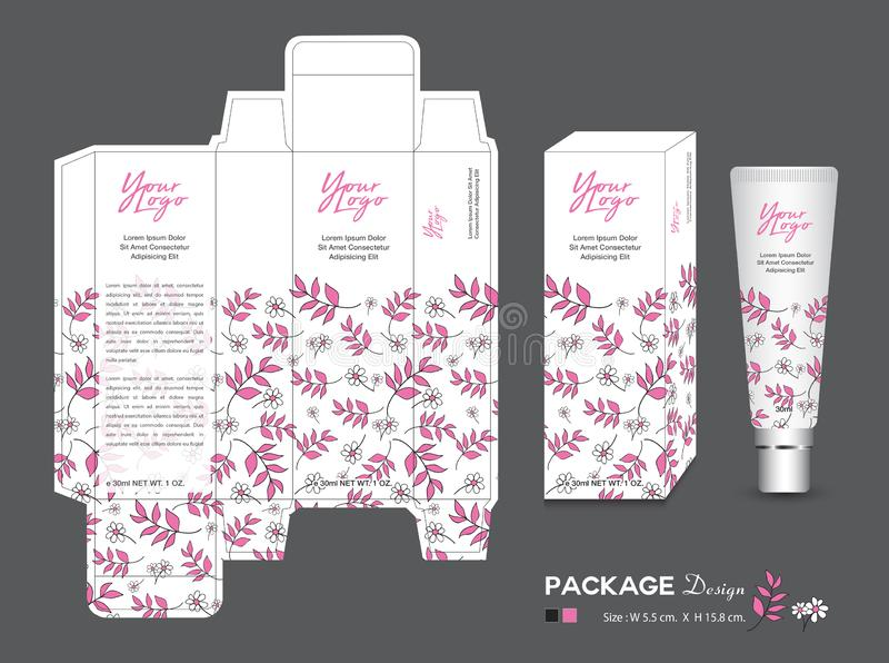 Modello d'imballaggio di bellezza, cosmetici della scatola 3d, progettazione, etichetta del pacchetto, prodotti sani, disposizion illustrazione di stock