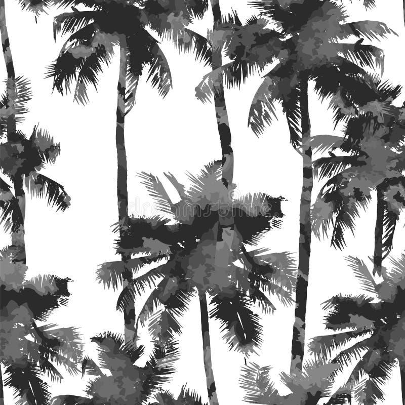 Modello dalle palme dell'acquerello illustrazione vettoriale