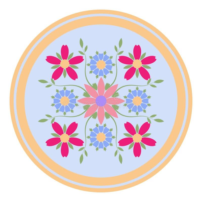 Modello decorativo del piatto con l'ornamento floreale nello stile piano Un ornamento circolare per la vostra progettazione royalty illustrazione gratis