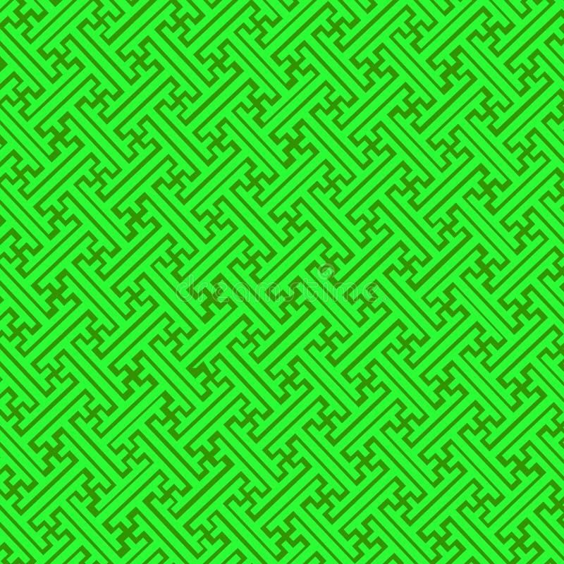 Modello decorativo dell'ornamento, stile di sayagata, tavolozza di colori verdi Fondo geometrico astratto di vettore classico illustrazione di stock