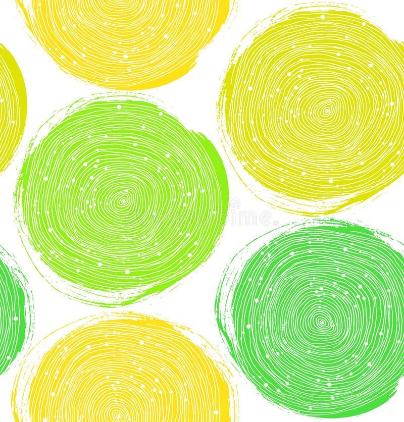 Modello decorativo della pittura Struttura senza cuciture di vettore con i cerchi verdi royalty illustrazione gratis