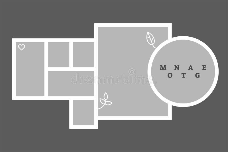 Modello decorativo dello spazio in bianco della composizione nella struttura della foto del collage del montaggio, progettazione  illustrazione vettoriale