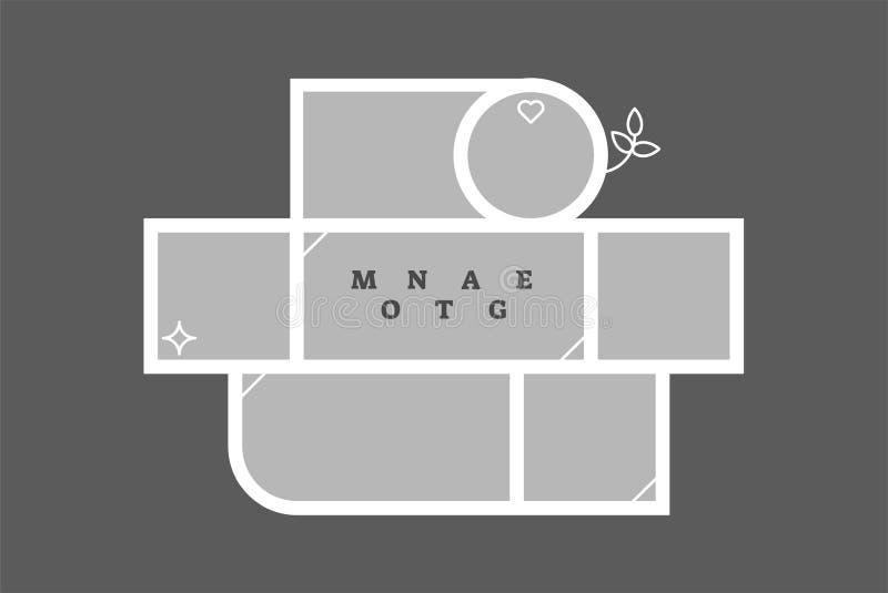 Modello decorativo dello spazio in bianco della composizione nella struttura della foto del collage del montaggio, progettazione  royalty illustrazione gratis