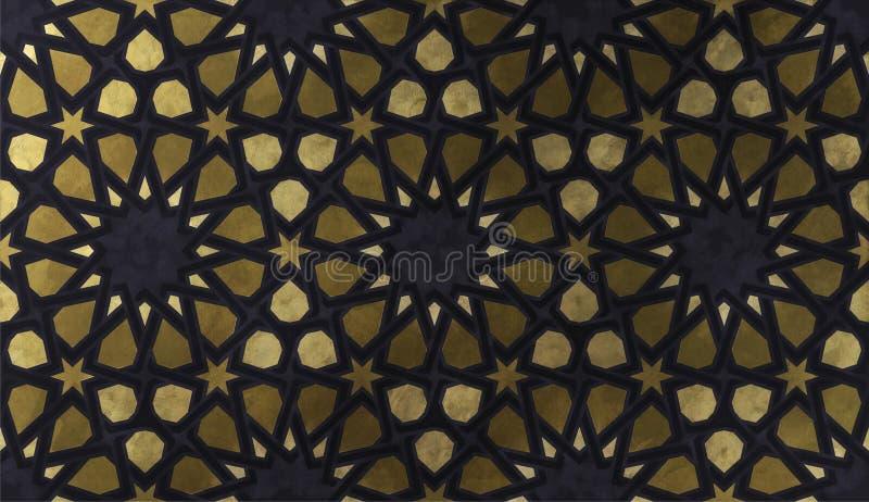 Modello decorativo islamico con struttura artistica dorata illustrazione di stock