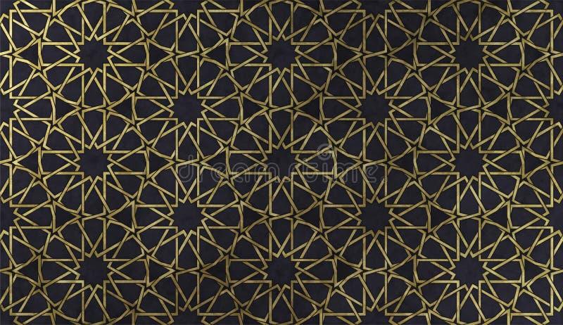 Modello decorativo islamico con struttura artistica dorata royalty illustrazione gratis