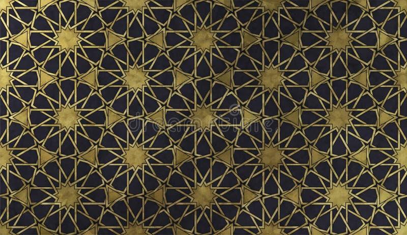 Modello decorativo islamico con struttura artistica dorata illustrazione vettoriale