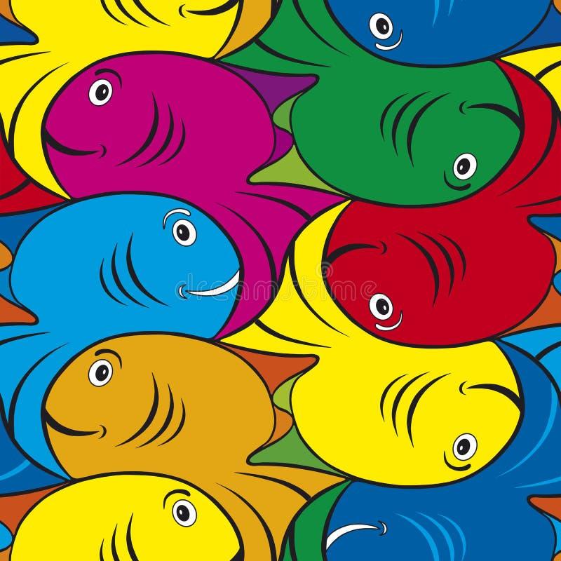 Modello decorato con mosaico a scacchiera del pesce illustrazione vettoriale