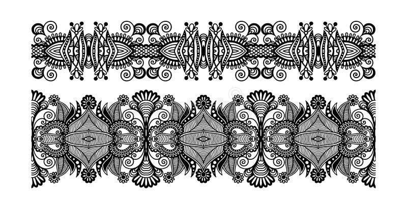 Modello decorato decorativo della banda di progettazione, senza cuciture floreale etnico illustrazione di stock