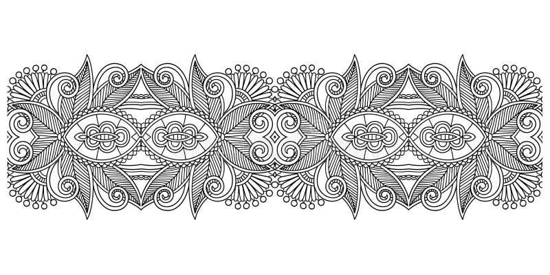 Modello decorato decorativo della banda di progettazione, senza cuciture floreale etnico illustrazione vettoriale
