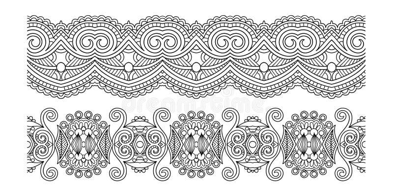 Modello decorato decorativo della banda di progettazione, senza cuciture floreale etnico royalty illustrazione gratis