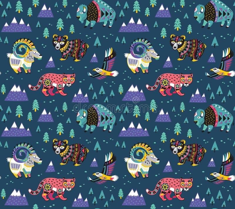 Modello degli animali della montagna nello stile etnico Grafica vettoriale alla moda per progettazione del ` s dei bambini illustrazione di stock