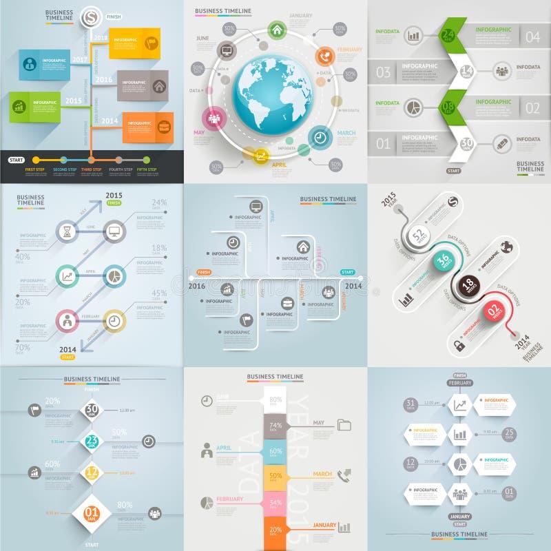 Modello degli elementi di cronologia di affari illustrazione vettoriale