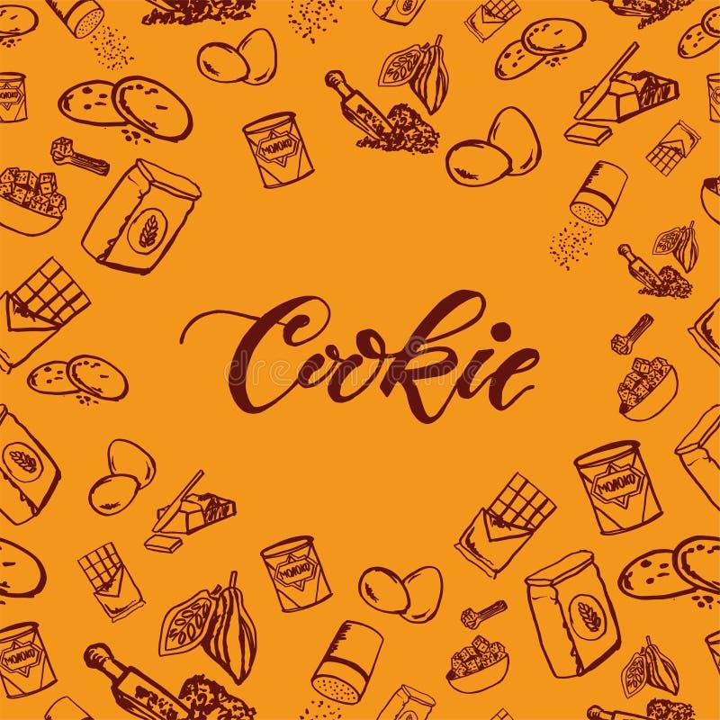 Modello degli ingredienti del biscotto del cioccolato su fondo giallo illustrazione di stock