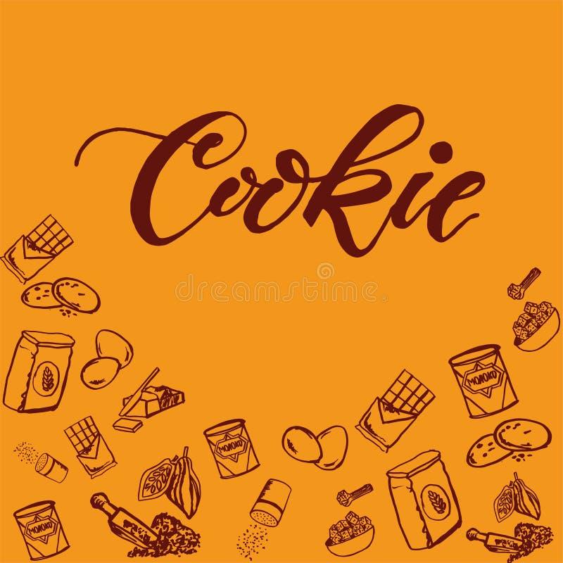 Modello degli ingredienti del biscotto del cioccolato su fondo giallo royalty illustrazione gratis
